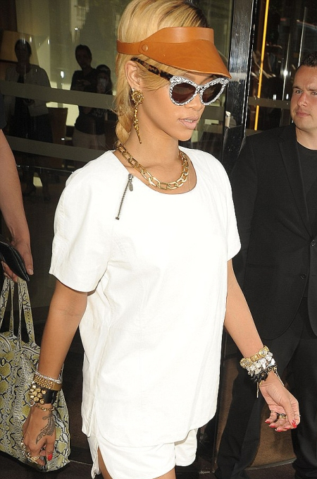 Wearing all white Rihanna